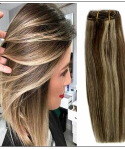 medium length brown hair with blonde highlights img-min