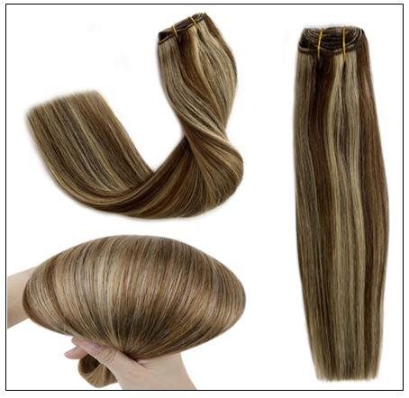 medium length brown hair with blonde highlights-min