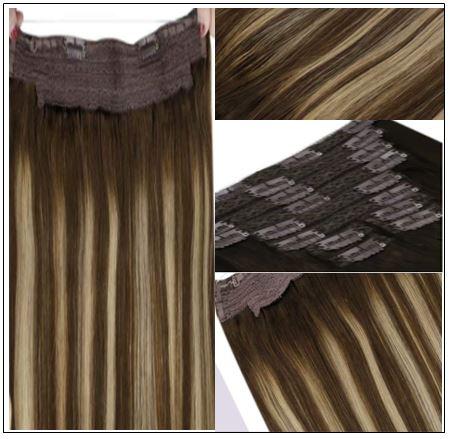 Ash Blonde Highlights on Dark Brown Hair Extensions 2-min