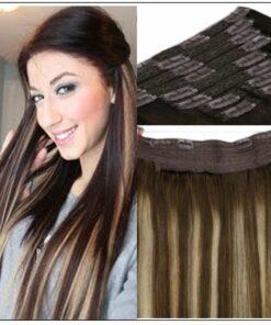 Ash Blonde Highlights on Dark Brown Hair Extensions img-min
