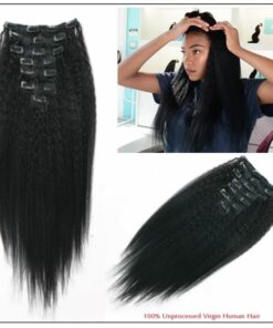 Kinky Straight Clip in Hair Extensions (1)