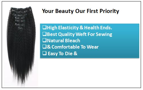 Kinky Straight Clip in Hair Extensions (2)