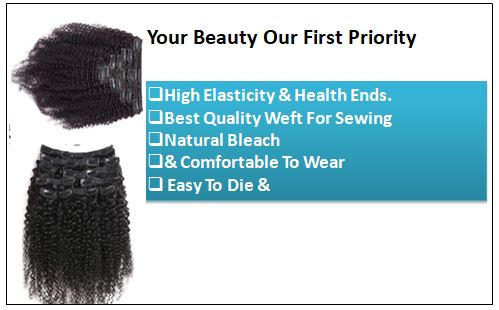 Kinky clip in hair extensions 1