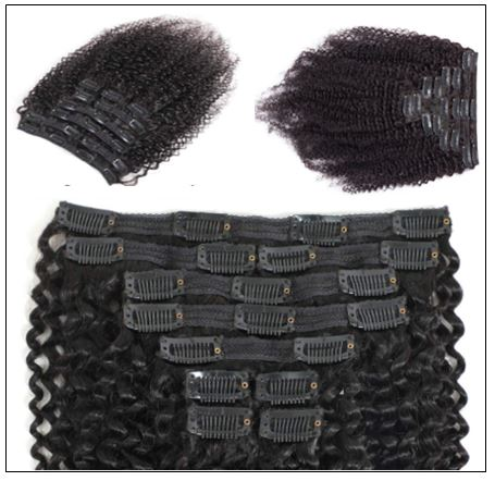Kinky clip in hair extensions (2)