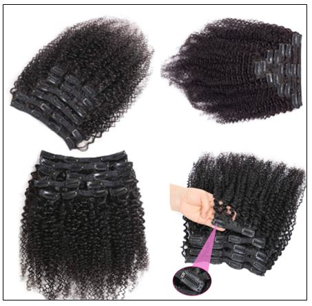 Kinky curly clip in hair extension 2