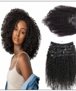 Kinky curly clip in hair extension img