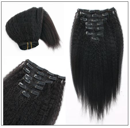 Kinky straight clip in hair extensions 2