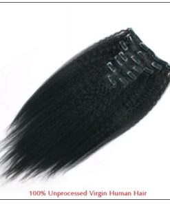 Kinky straight clip in hair extensions 3