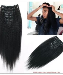 Kinky straight clip in hair extensions 4