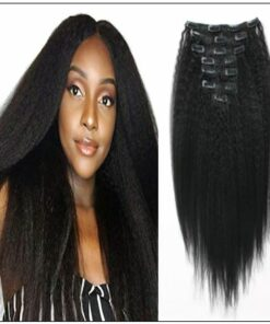 Kinky straight clip in hair extensions img