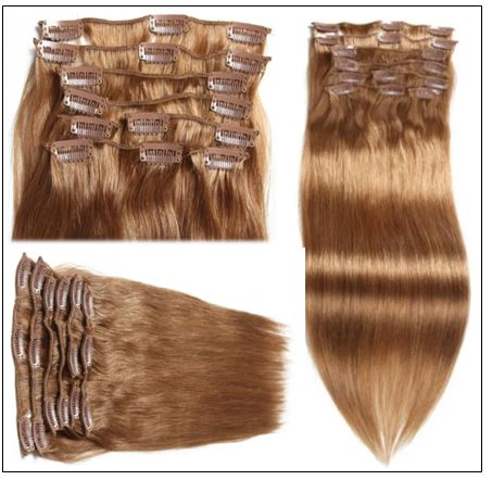 Light Brown Clip in Human Hair Extensions (2)