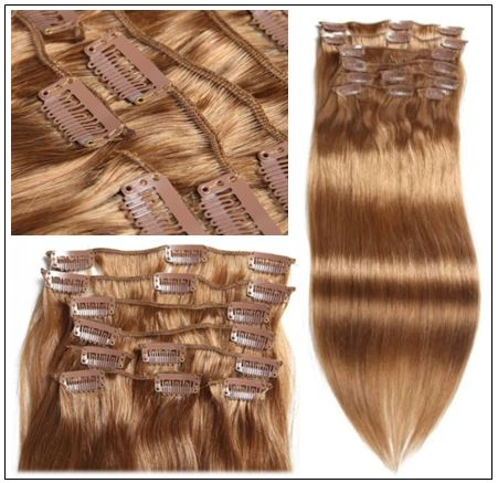 Light Brown Clip in Human Hair Extensions (3)