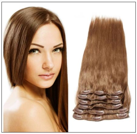 Light Brown Clip in Human Hair Extensions img