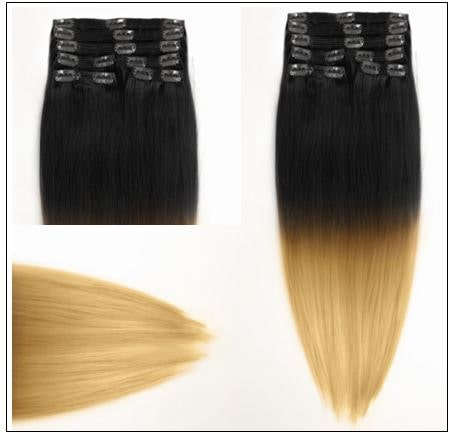 Ombre Human Hair Extensions Clip In 2-min