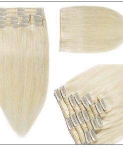 Platinum Blonde Clip in Hair Extensions 4-min