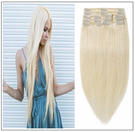 Platinum Blonde Clip in Hair Extensions img-min