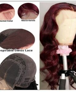 13×4 Burgundy Body Wave Wig Hair Extensions 2