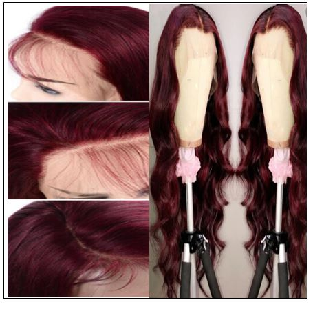 13×4 Burgundy Body Wave Wig Hair Extensions 4