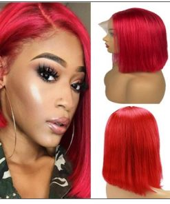 13×4 Red Frontal Bob Wig Hair Extensions img