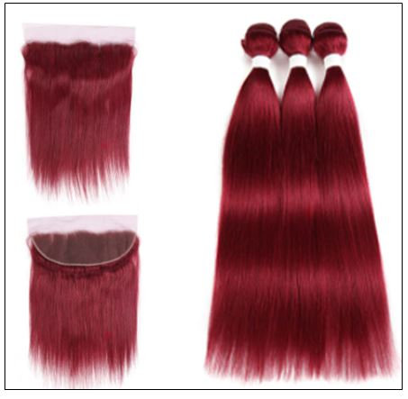 Burgundy Frontal Sew in Hair Extensions (4)