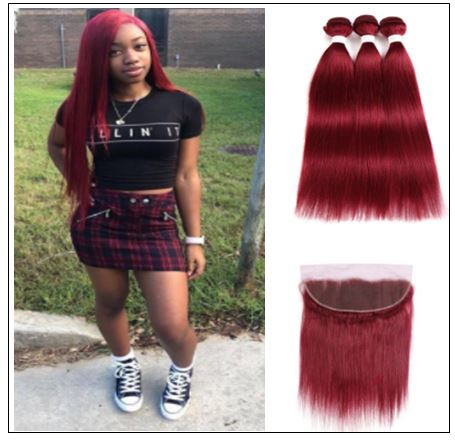 Burgundy Frontal Sew in Hair Extensions (5)