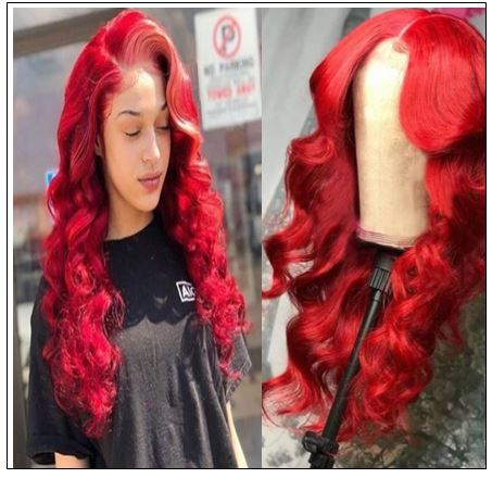 Red Body Wave Wig Hair Extensions img