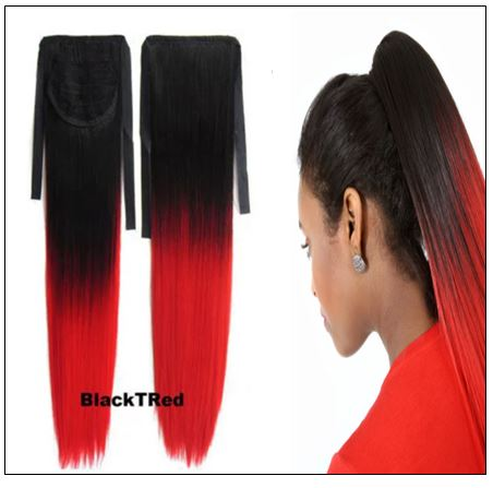 Red Slicked Back Ponytail Hair Extensions 2